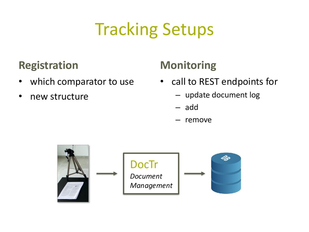 Tracking Setups Registration • which comparator...