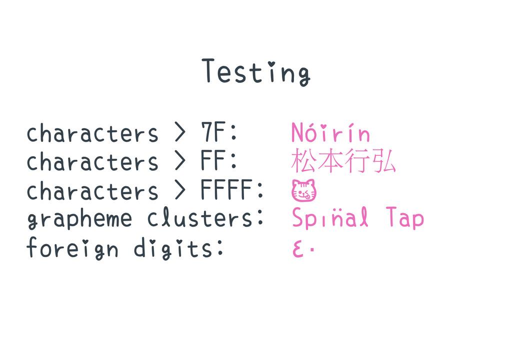 Testing characters > 7F: Nóirín characters > FF...