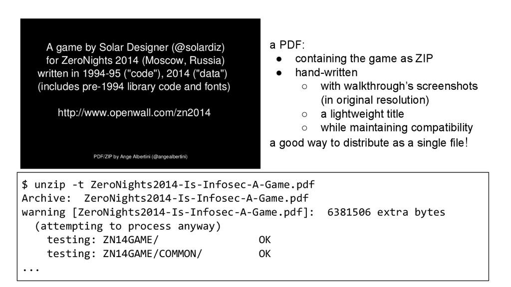 $ unzip -t ZeroNights2014-Is-Infosec-A-Game.pdf...
