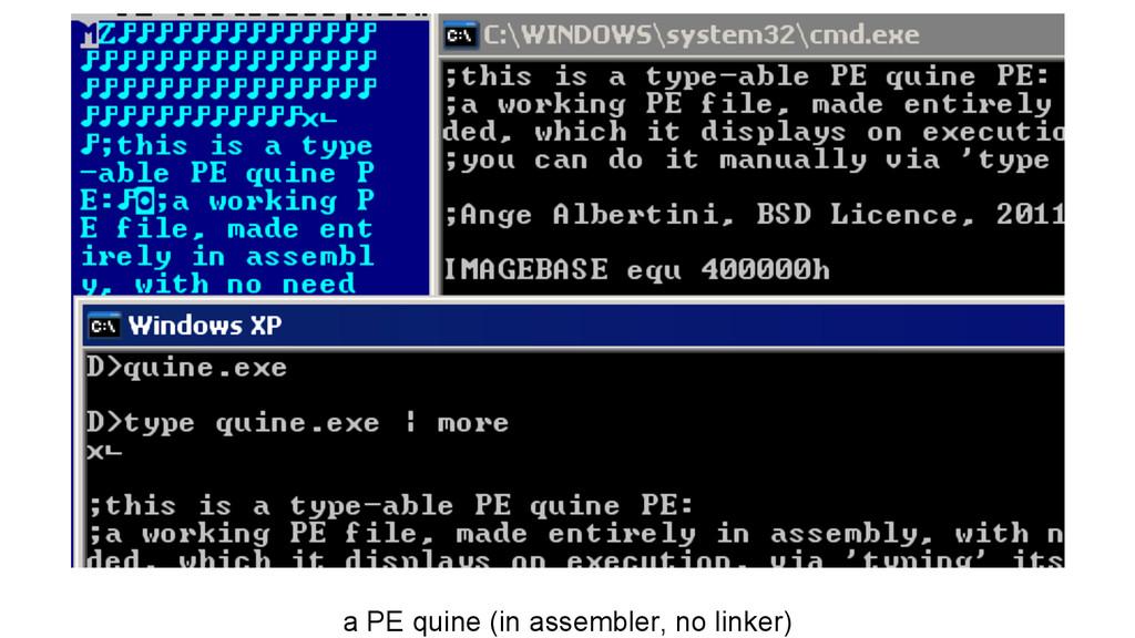 a PE quine (in assembler, no linker)