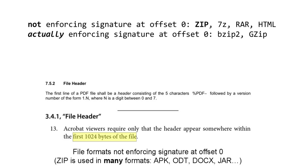 File formats not enforcing signature at offset ...
