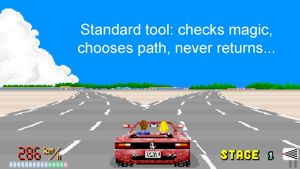 Standard tool: checks magic, chooses path, neve...