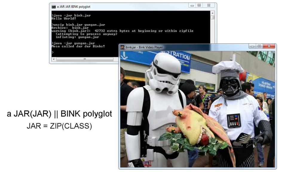 a JAR(JAR)    BINK polyglot JAR = ZIP(CLASS)
