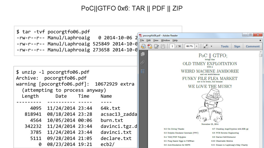 $ unzip -l pocorgtfo06.pdf Archive: pocorgtfo06...