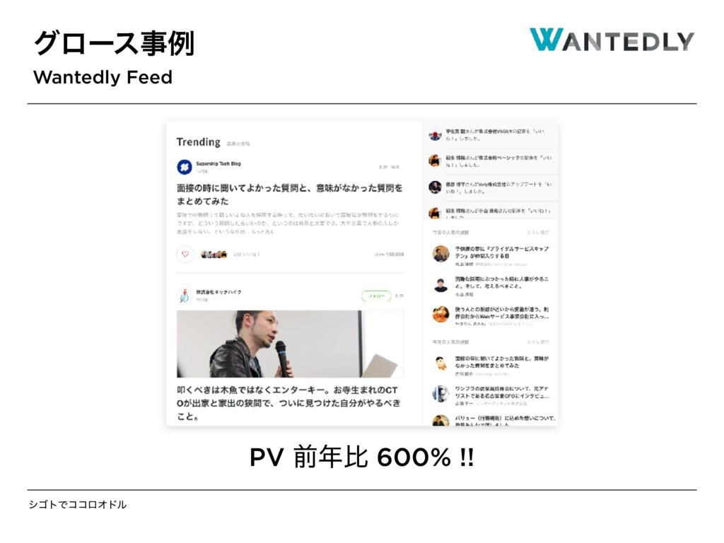 γΰτͰίίϩΦυϧ άϩʔεྫ Wantedly Feed PV લൺ 600% !!