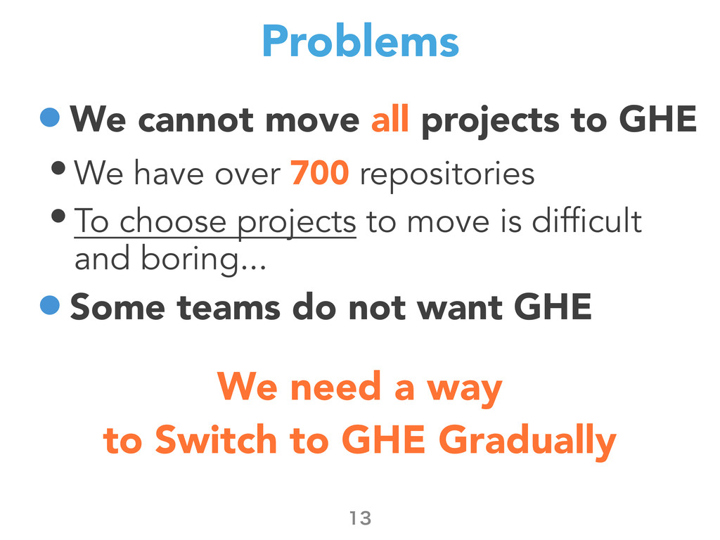 Problems •We cannot move all projects to GHE • ...