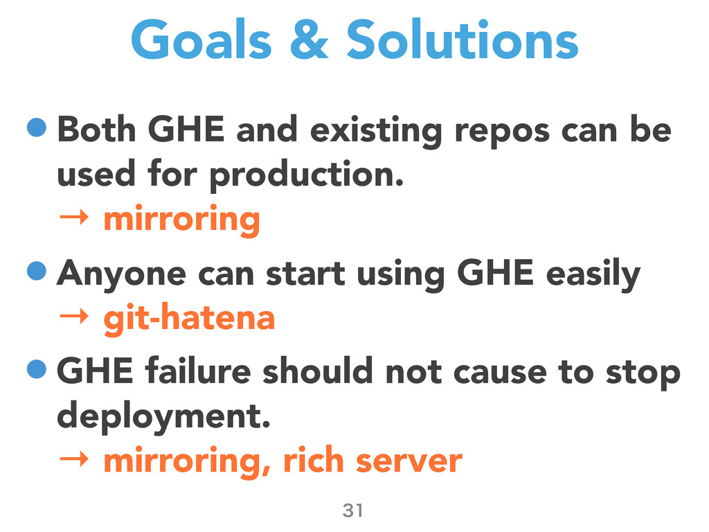 Goals & Solutions •Both GHE and existing repos ...