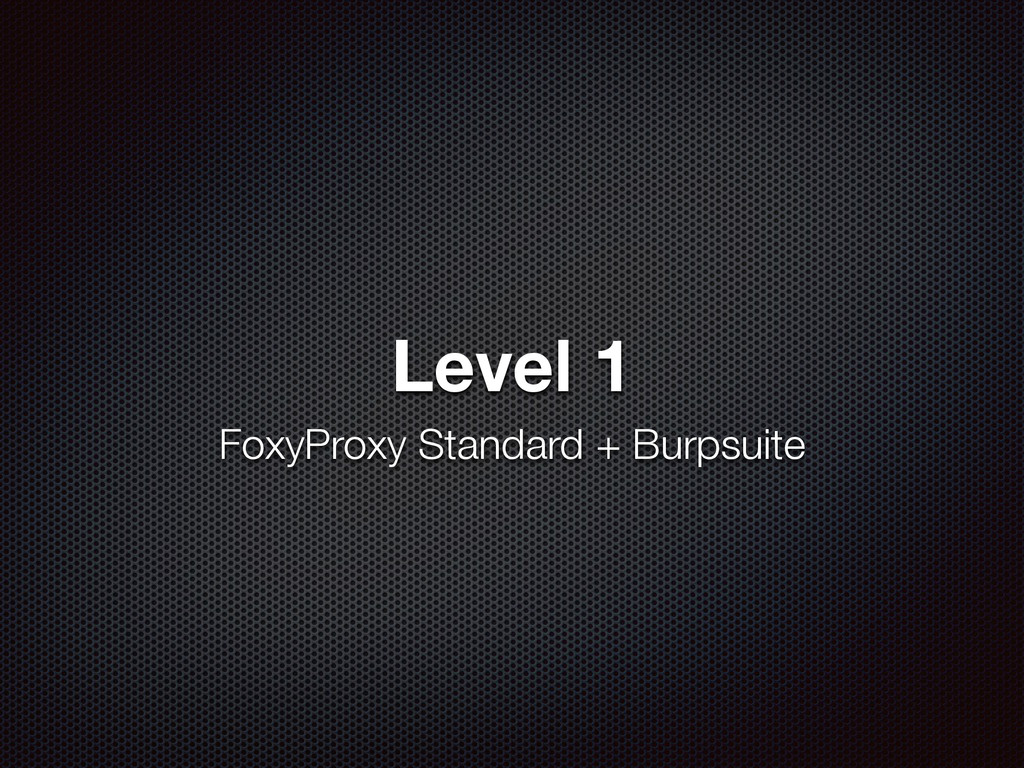 Level 1 FoxyProxy Standard + Burpsuite