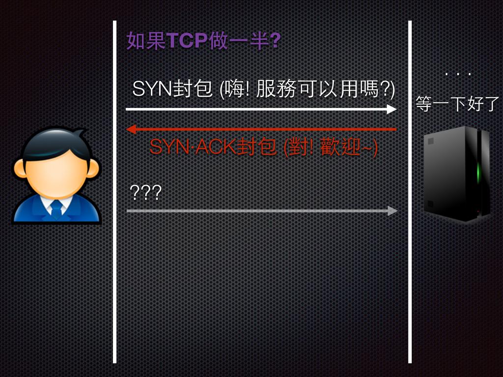 SYN封包 (嗨! 服務可以⽤用嗎?) SYN‧ACK封包 (對! 歡迎~) 如果TCP做⼀一...