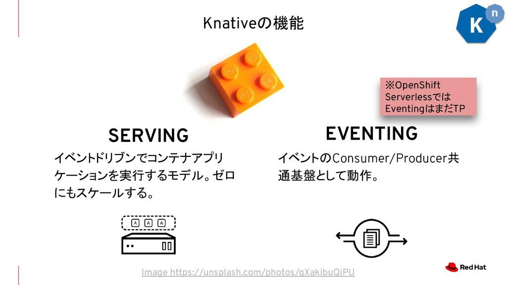 SERVING イベントドリブンでコンテナアプリ ケーションを実行するモデル。ゼロ にもスケー...