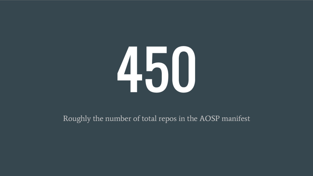 450 Roughly the number of total repos in the AO...
