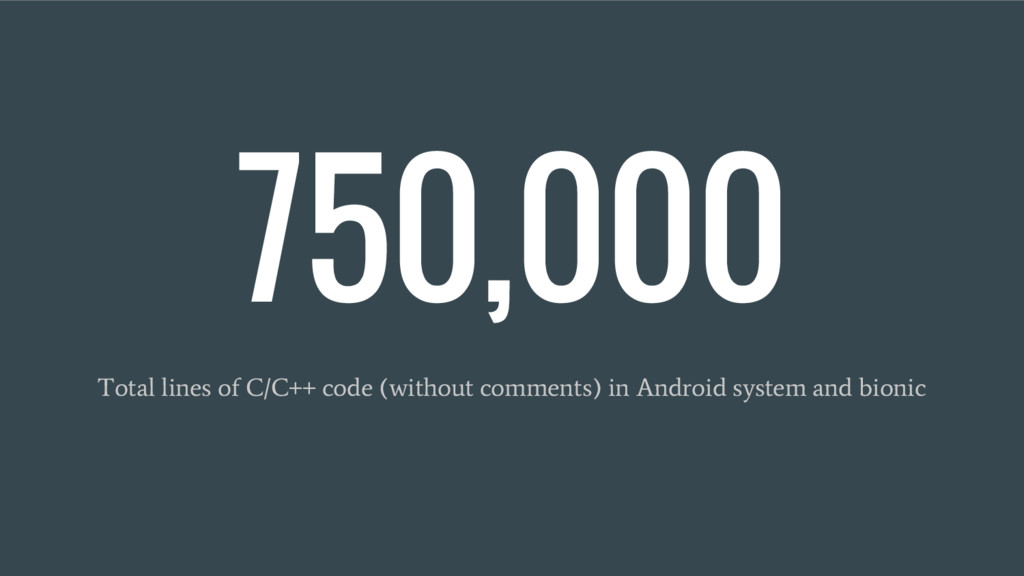 750,000 Total lines of C/C++ code (without comm...