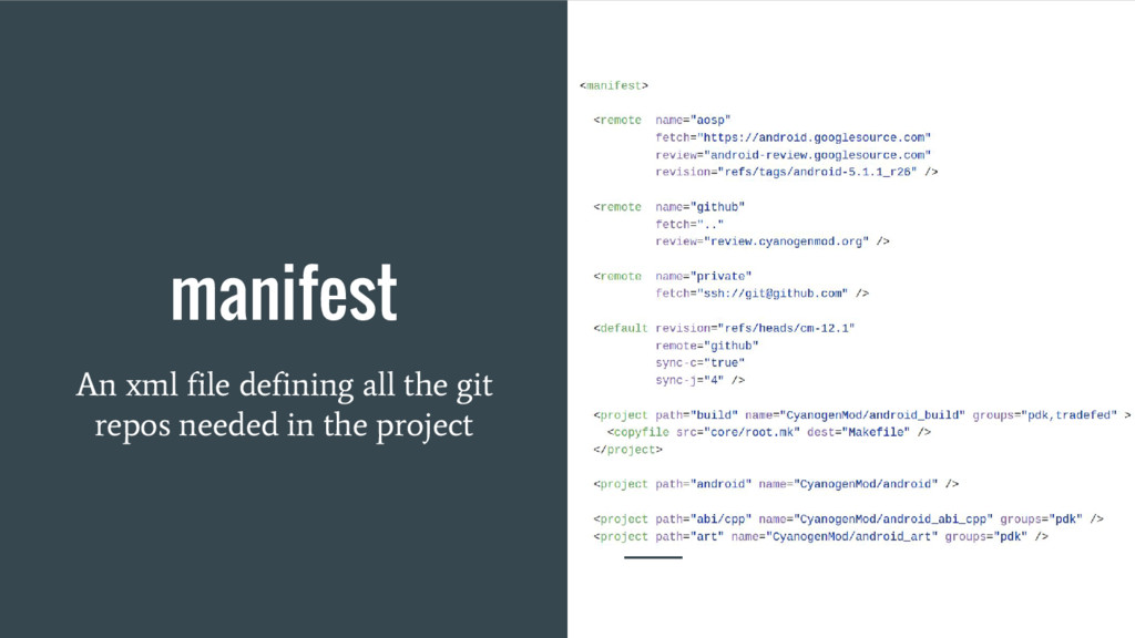 manifest An xml file defining all the git repos...