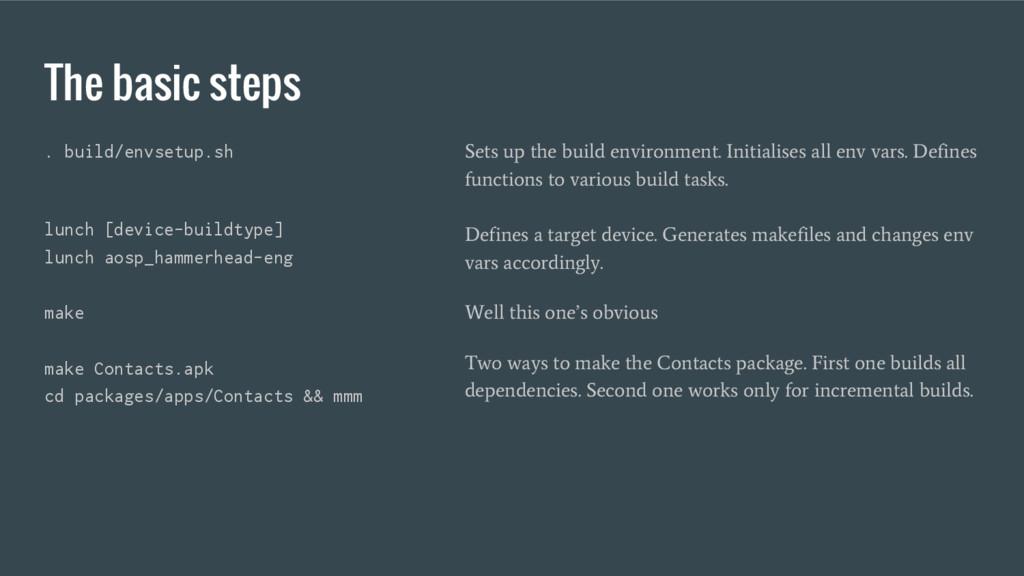 The basic steps . build/envsetup.sh lunch [devi...