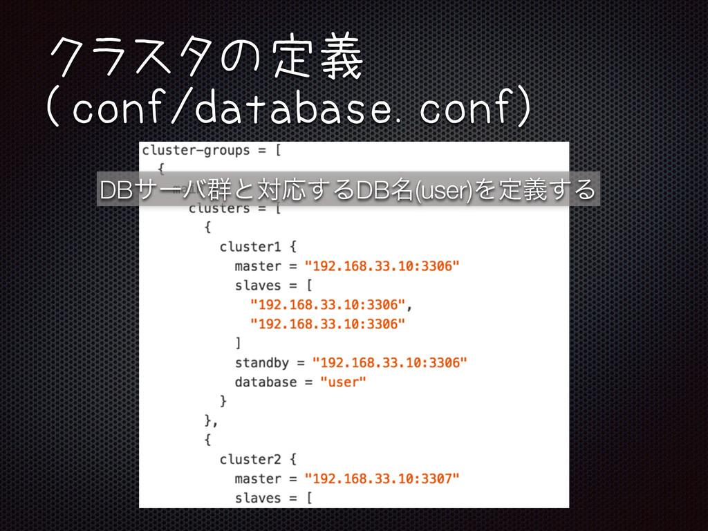DBαʔό܈ͱରԠ͢ΔDB໊(user)Λఆٛ͢Δ クラスタの定義 (conf/databas...