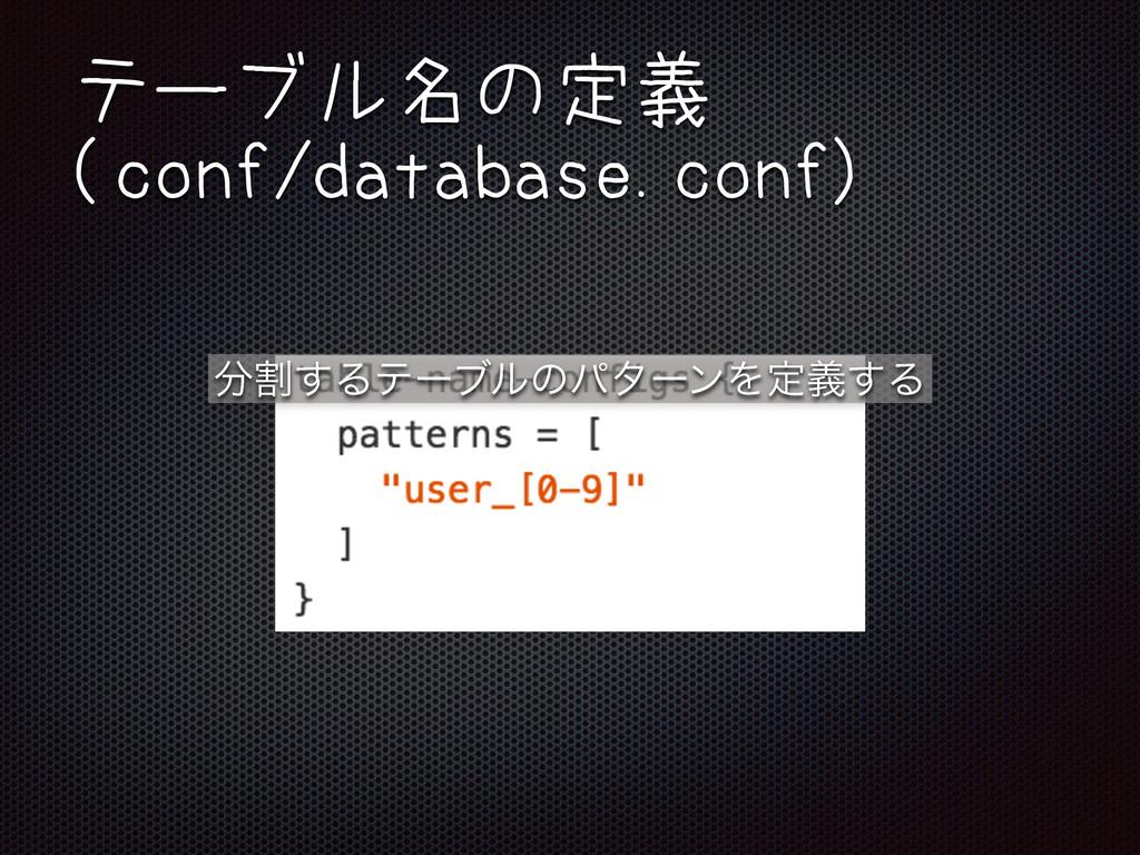 テーブル名の定義 (conf/database.conf) ׂ͢ΔςʔϒϧͷύλʔϯΛఆٛ͢Δ