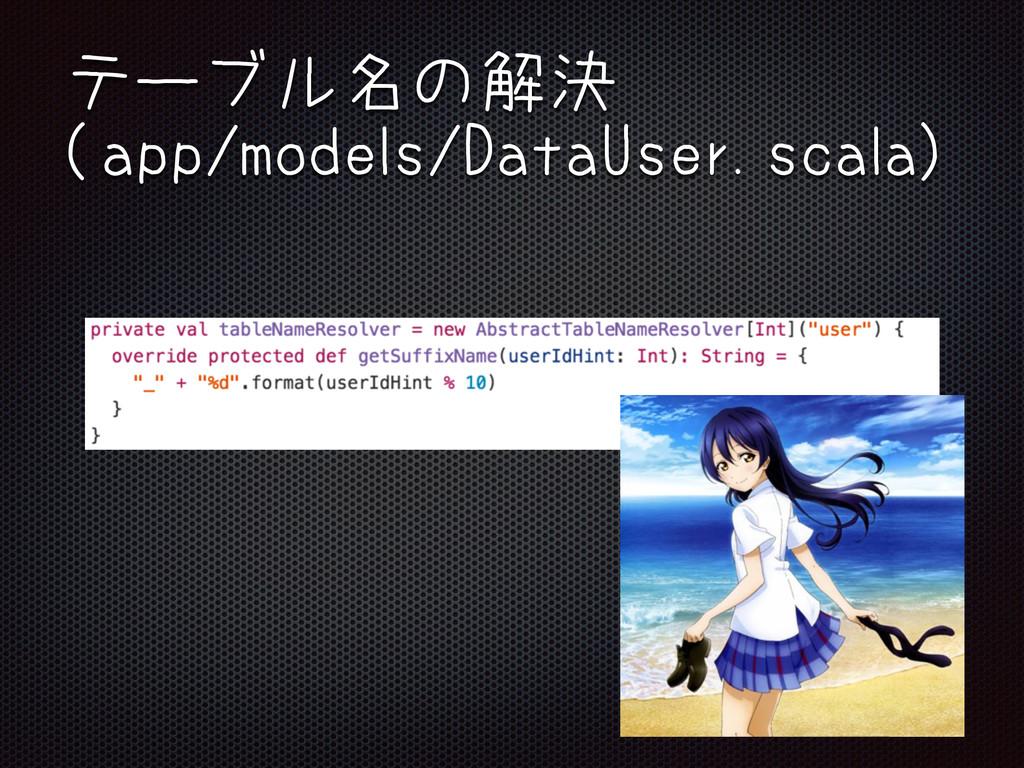 テーブル名の解決 (app/models/DataUser.scala)