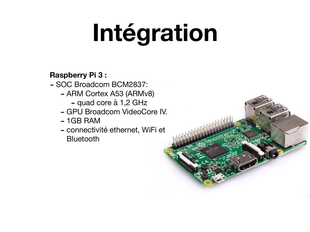 Intégration Raspberry Pi 3 : - SOC Broadcom BCM...