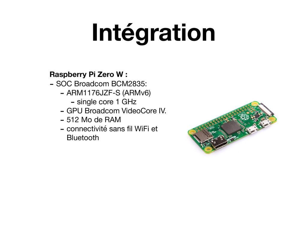 Intégration Raspberry Pi Zero W : - SOC Broadco...