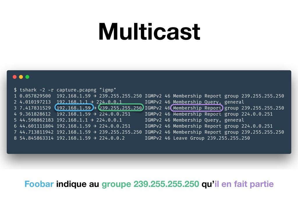Multicast Foobar indique au groupe 239.255.255....