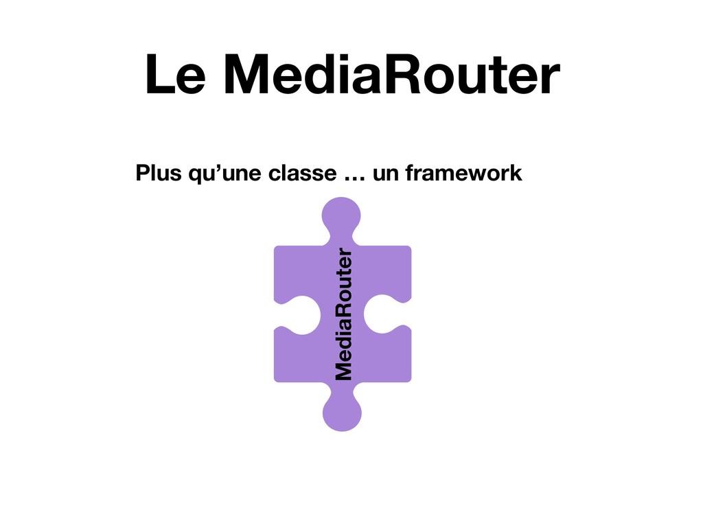 Le MediaRouter MediaRouter Plus qu'une classe …...