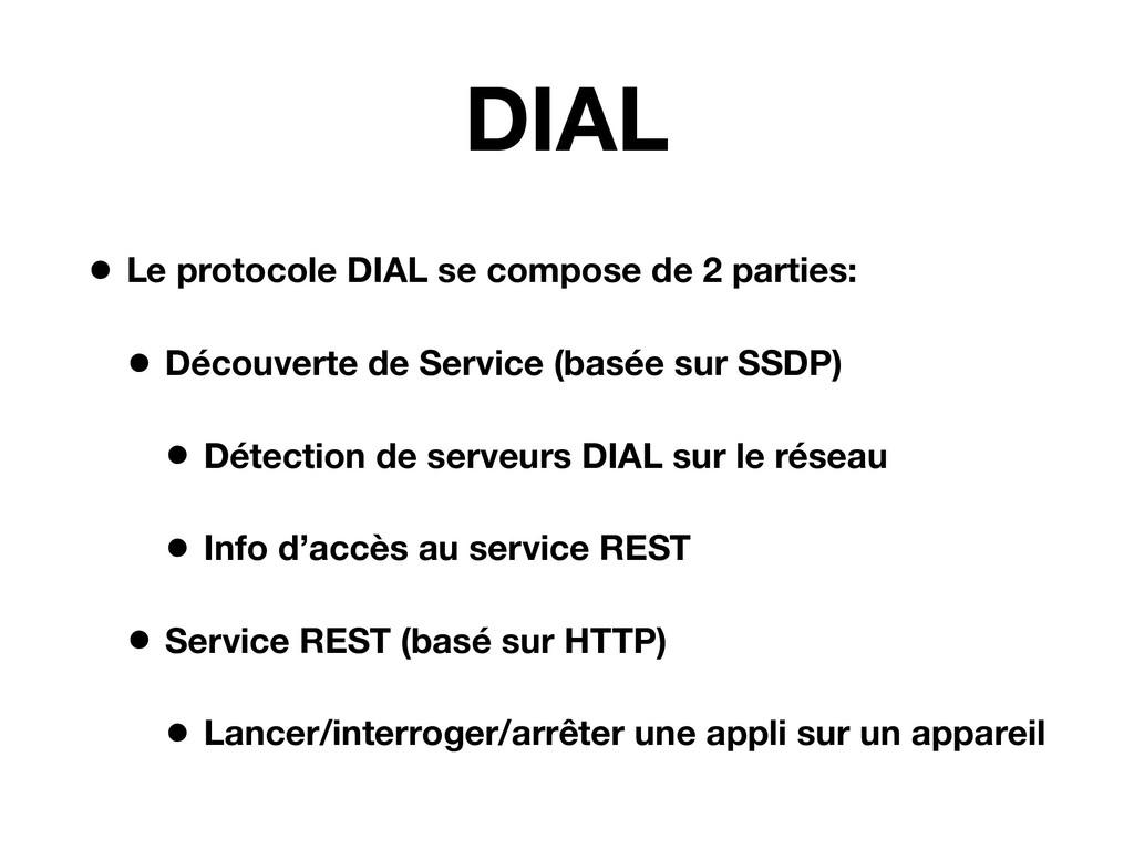 DIAL • Le protocole DIAL se compose de 2 partie...