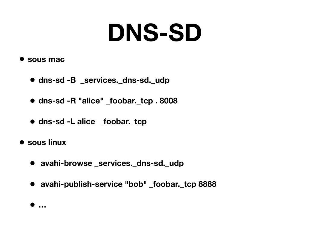 DNS-SD • sous mac • dns-sd -B _services._dns-sd...