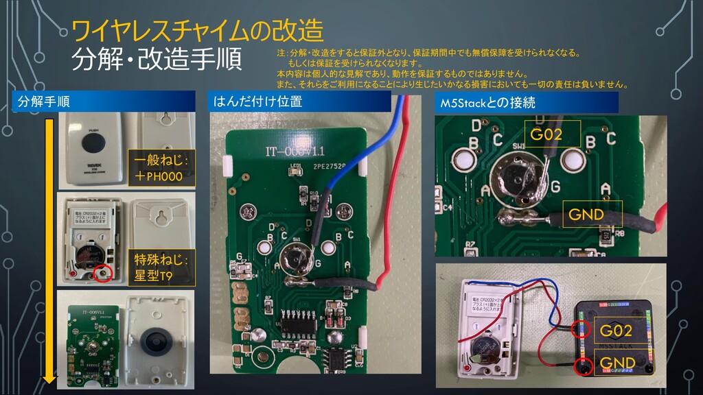 ワイヤレスチャイムの改造 分解・改造手順 特殊ねじ: 星型T9 一般ねじ: +PH000 GN...