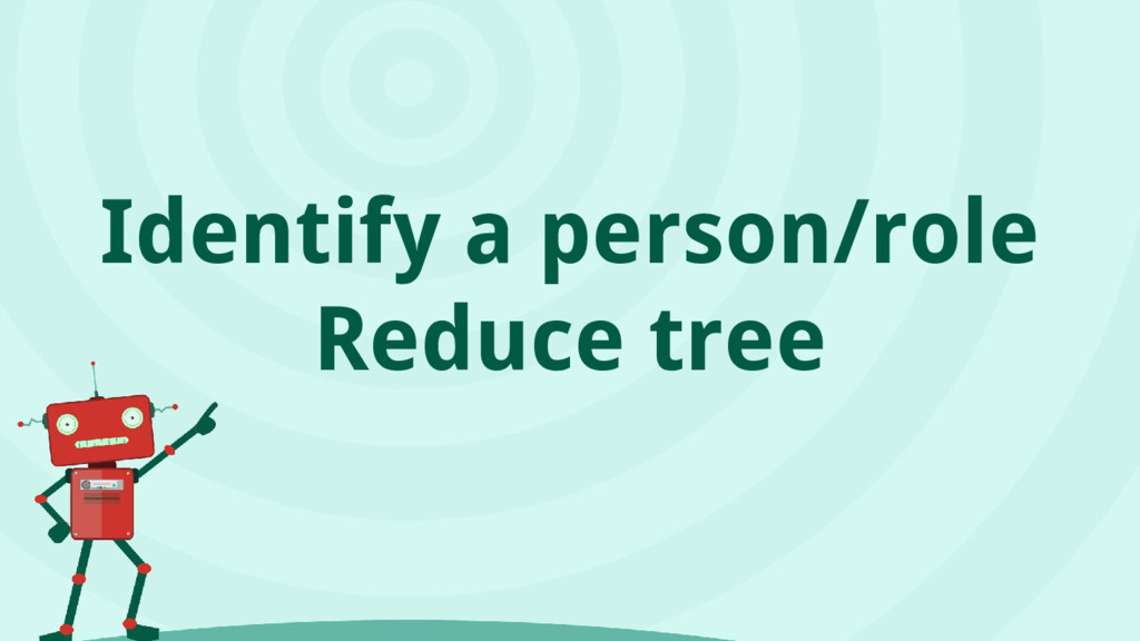 Identify a person/role Reduce tree