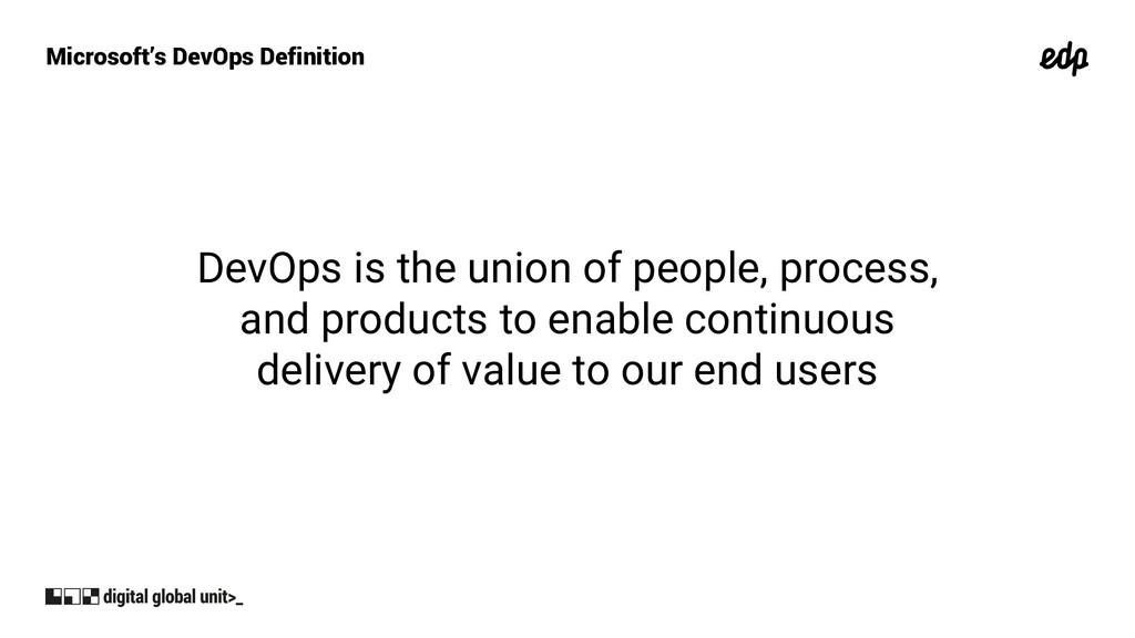 Microsoft's DevOps Definition DevOps is the uni...