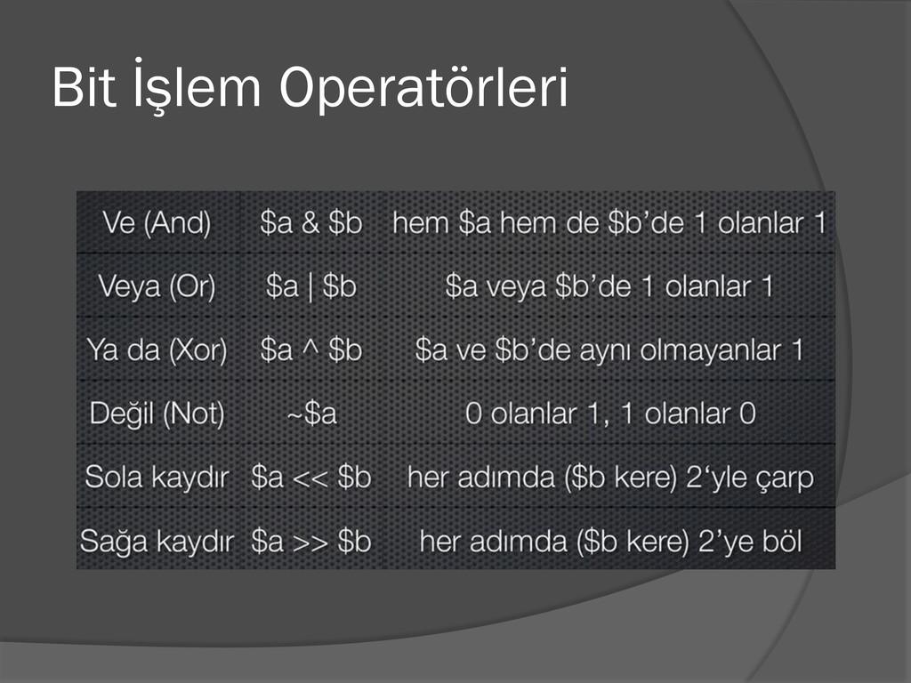 Bit İşlem Operatörleri