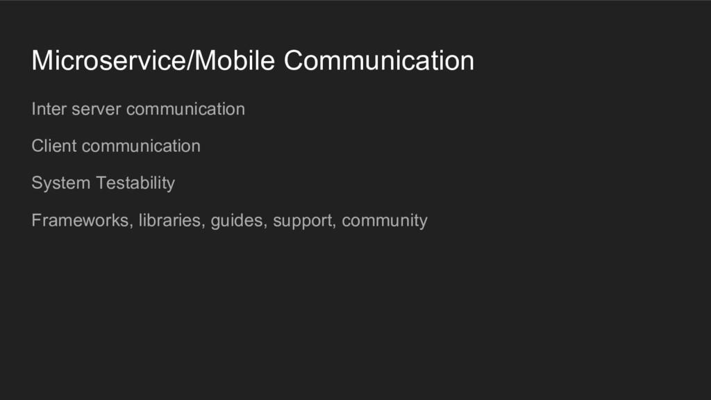 Microservice/Mobile Communication Inter server ...
