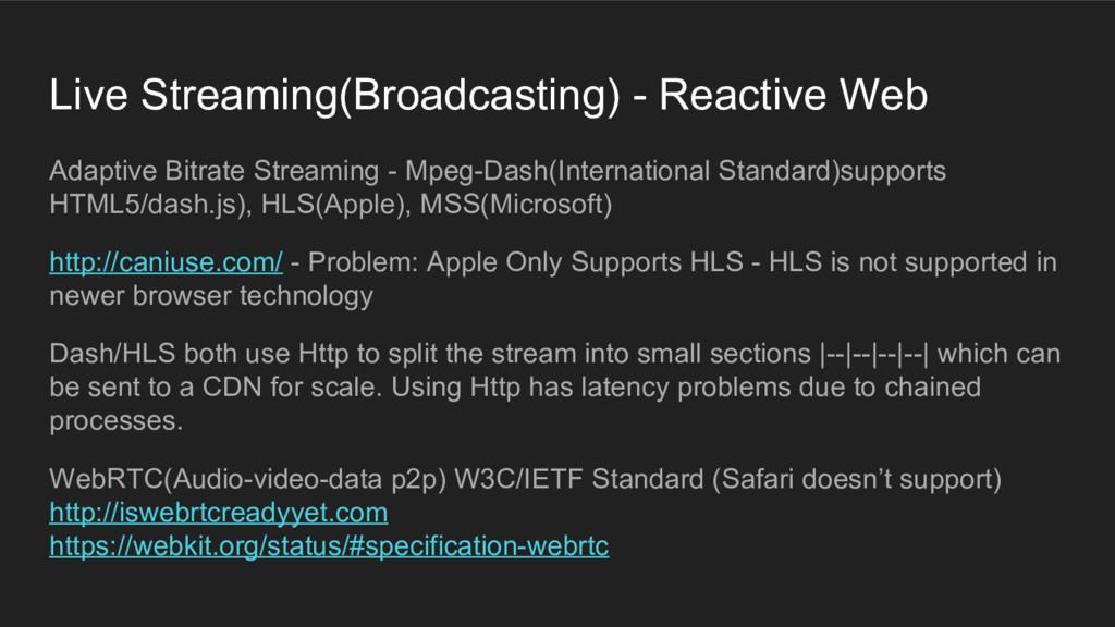 Live Streaming(Broadcasting) - Reactive Web Ada...