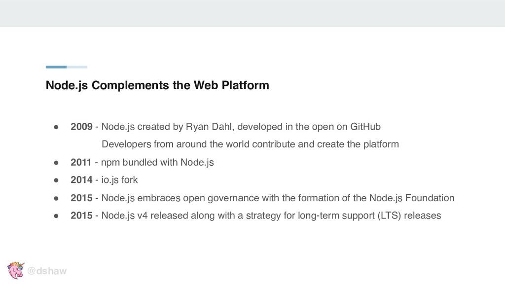 "Node.js Complements the Web Platform "" 2009 - N..."