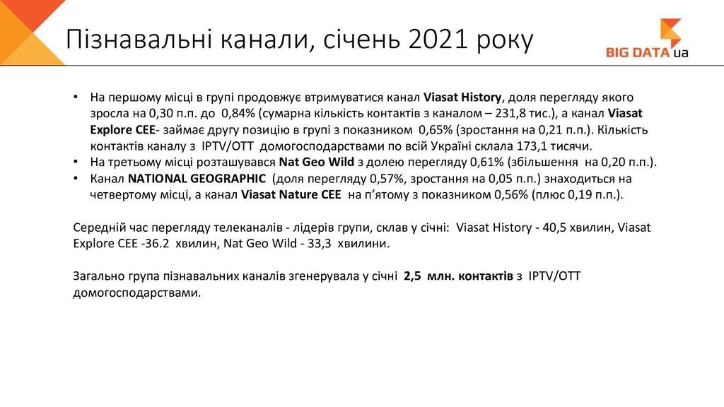 Пізнавальні канали, січень 2021 року • На першо...