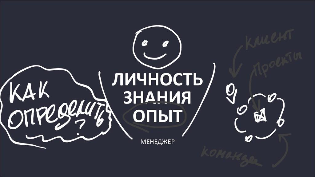 ЛИЧНОСТЬ ЗНАНИЯ ОПЫТ МЕНЕДЖЕР