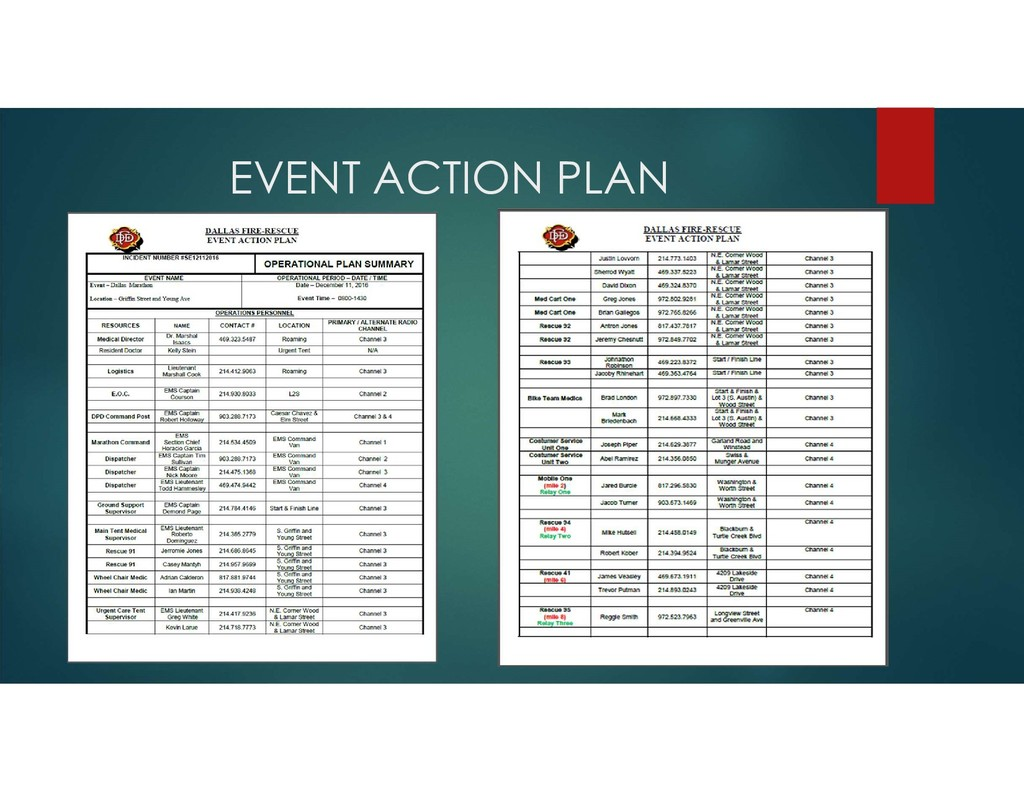 EVENT ACTION PLAN