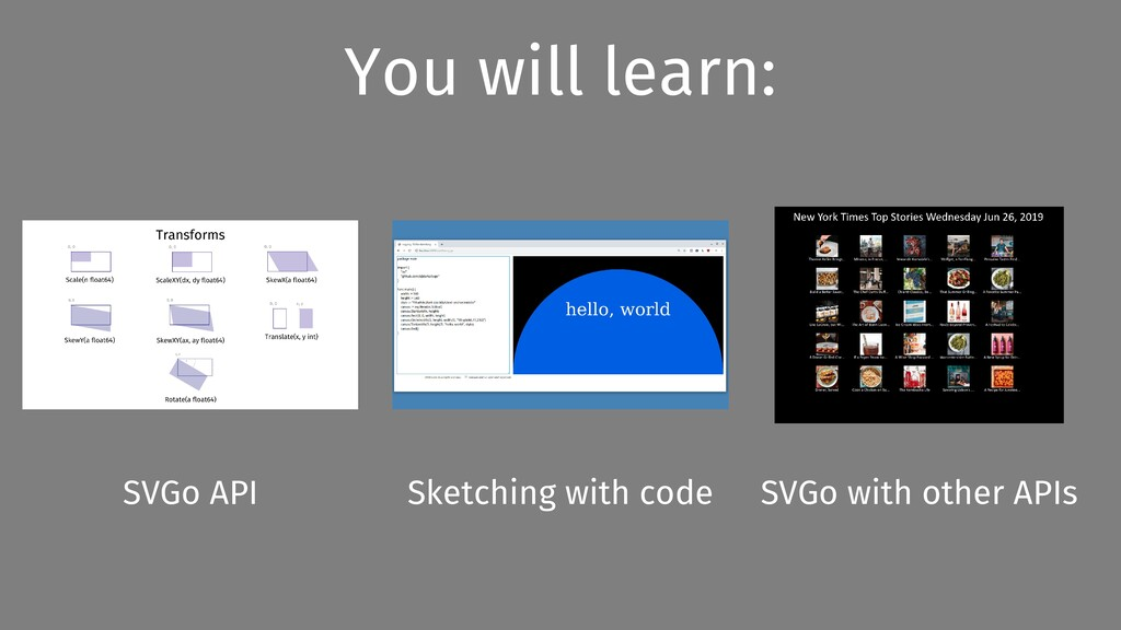 You will learn: SVGo API Sketching with code SV...