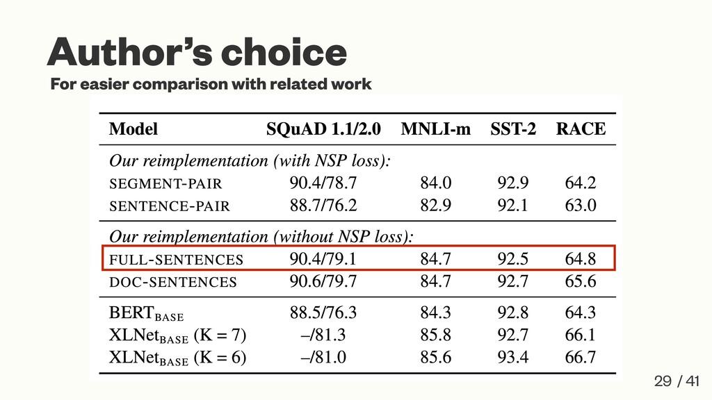 29 / 41 Author's choice For easier comparison w...