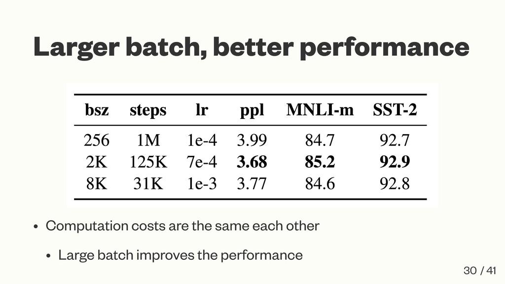 Larger batch, better performance • Computation ...