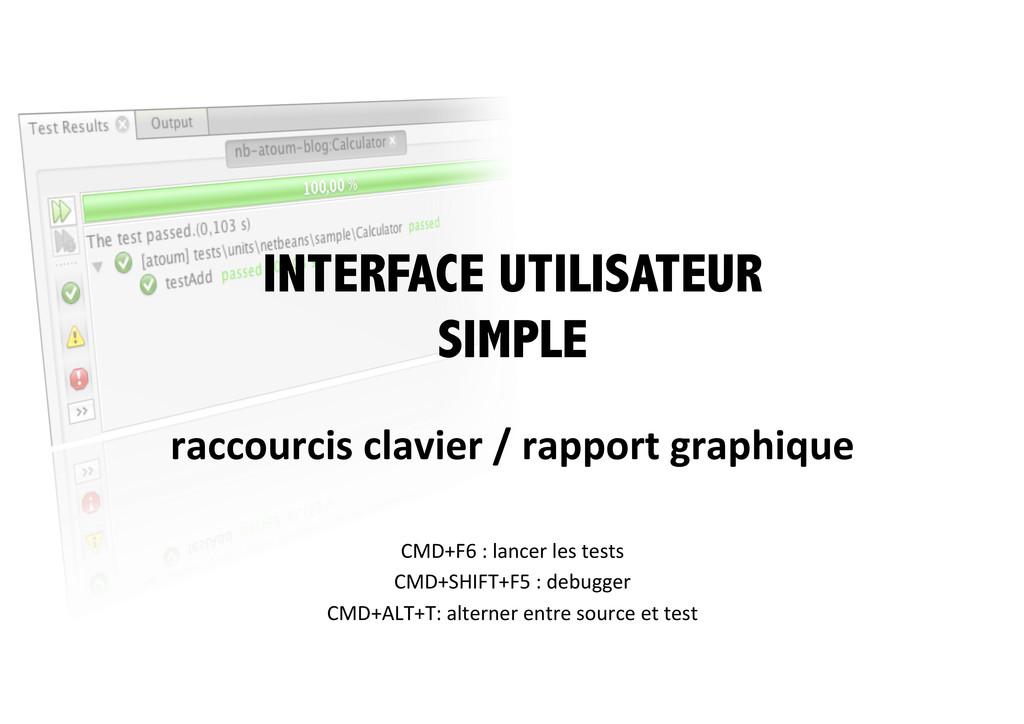 INTERFACE UTILISATEUR SIMPLE raccourcis clav...