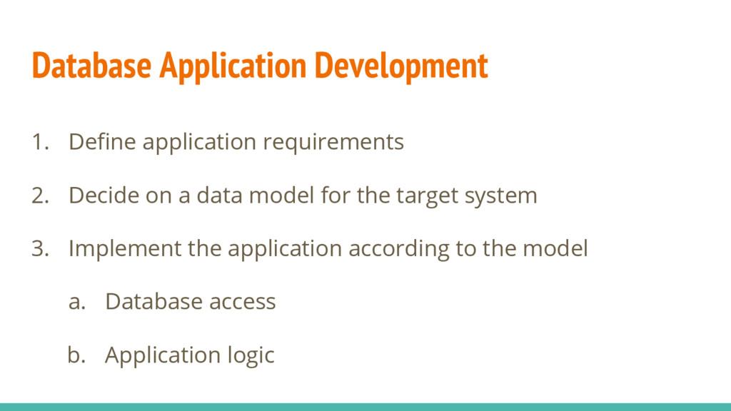 Database Application Development 1. Define appl...