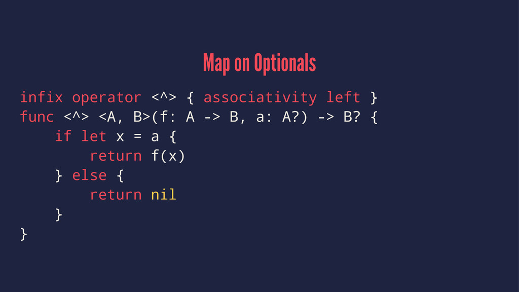 Map on Optionals infix operator <^> { associati...
