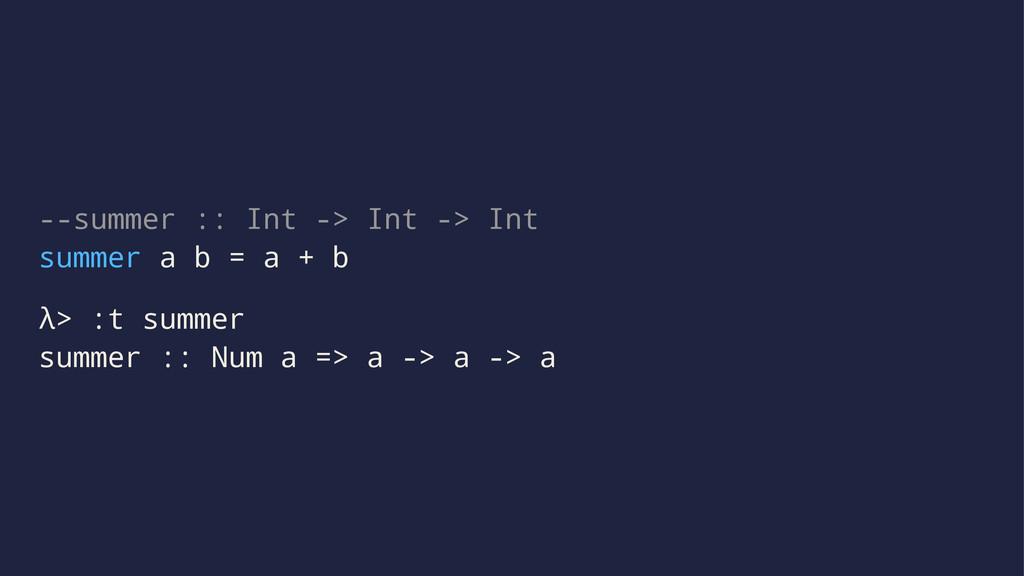 --summer :: Int -> Int -> Int summer a b = a + ...