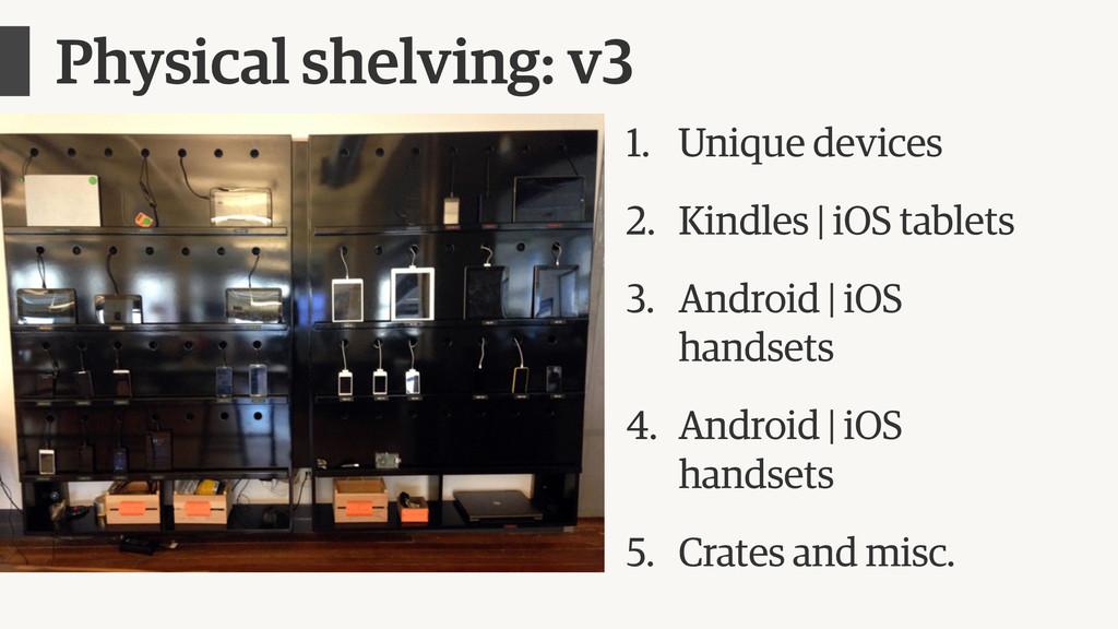 Physical shelving: v3 1. Unique devices 2. Kind...