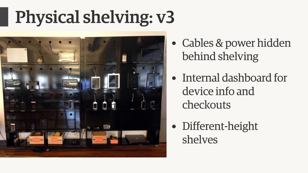 Physical shelving: v3 • Cables & power hidden b...