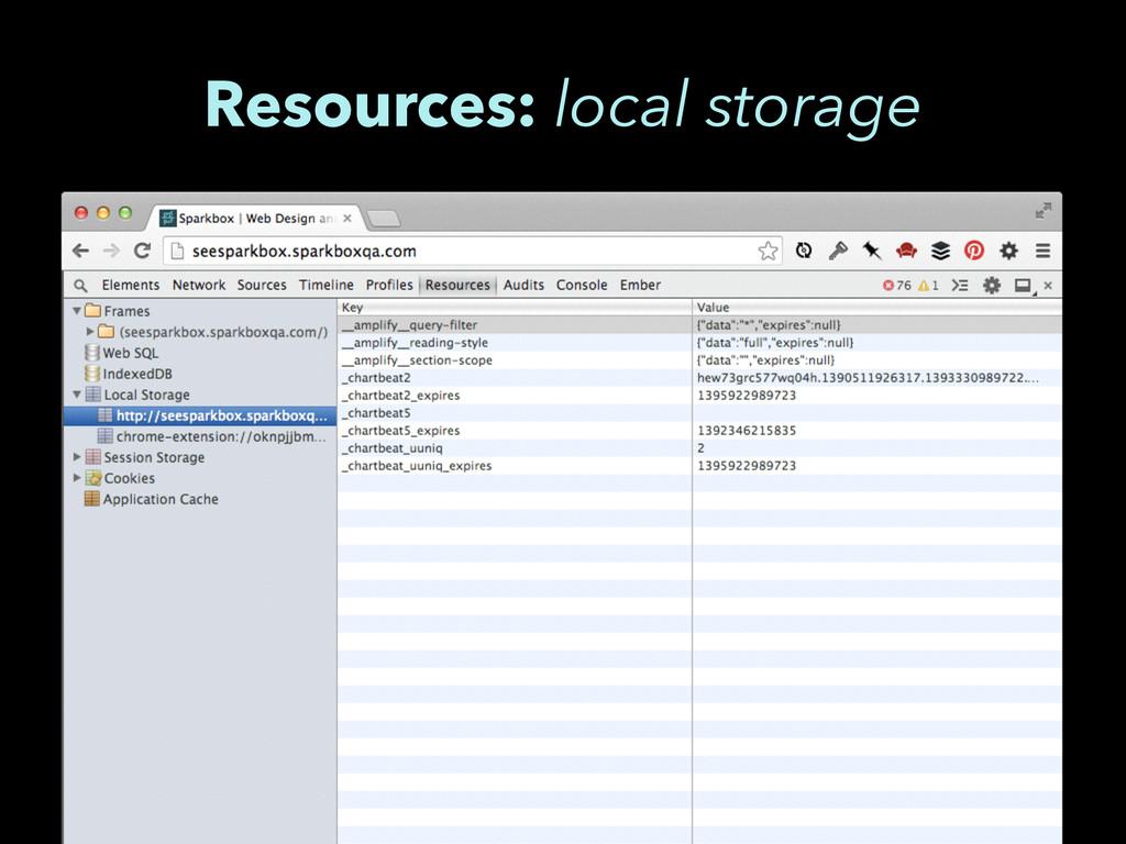 Resources: local storage