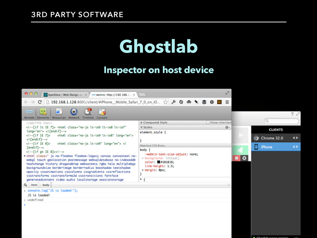 Ghostlab Inspector on host device 3RD PARTY SOF...
