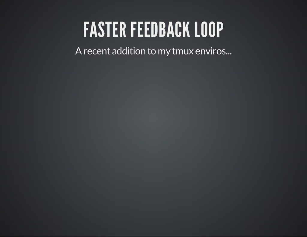 FASTER FEEDBACK LOOP A recent addition to my tm...