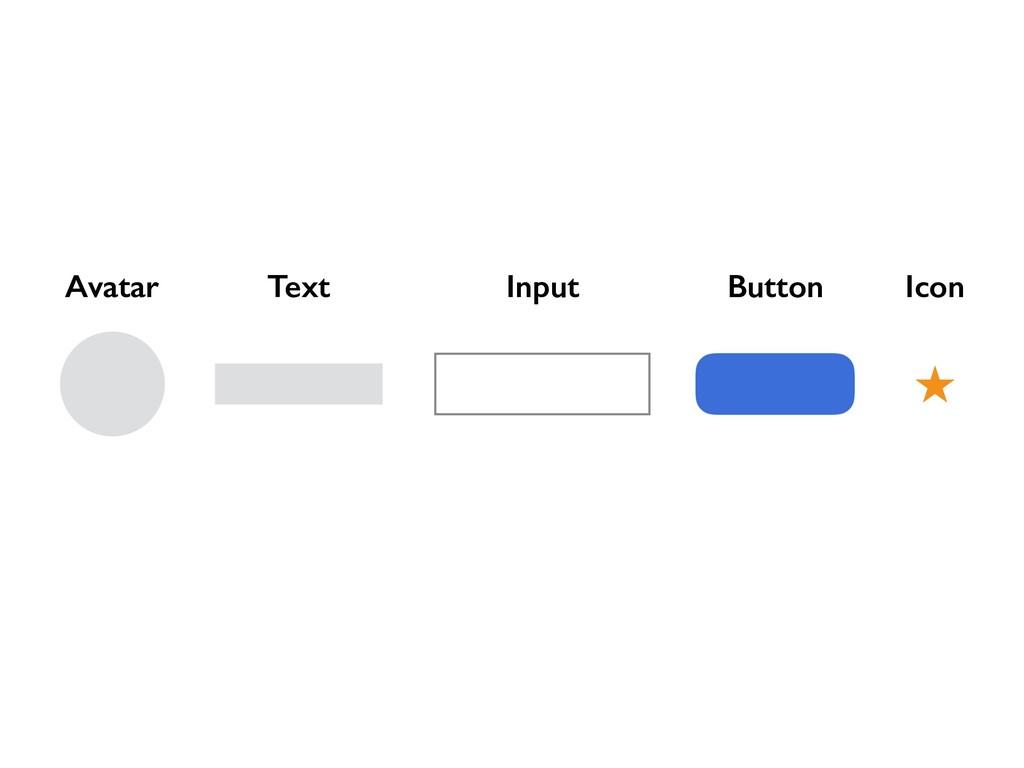 Text Button Icon Input Avatar